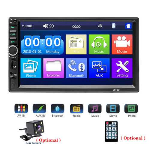 """Car Stereo Bluetooth MP5 Video Digital Player 7"""" Touch Screen Wireless Remote Control Hands Free Multimedia with Rear-View Camera black"""