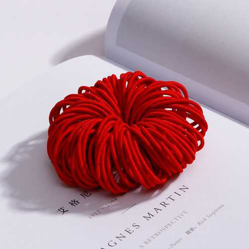 100 Pcs Hair Rope Cute Elastic Hair Ring Headband for Girls red