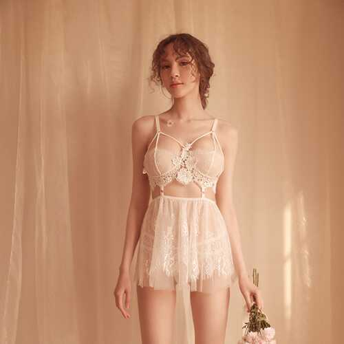 Woman Sexy Underwear Hollow Lace See-through Nightdress Sexy Lingerie White Free size