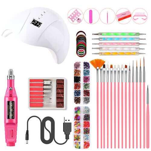 Nail Art UV Gel Lamp Manicure Set USB Grinding Machine Nail Kit Tools For Manicure Set For Nail Art Pusher Kit 01W white