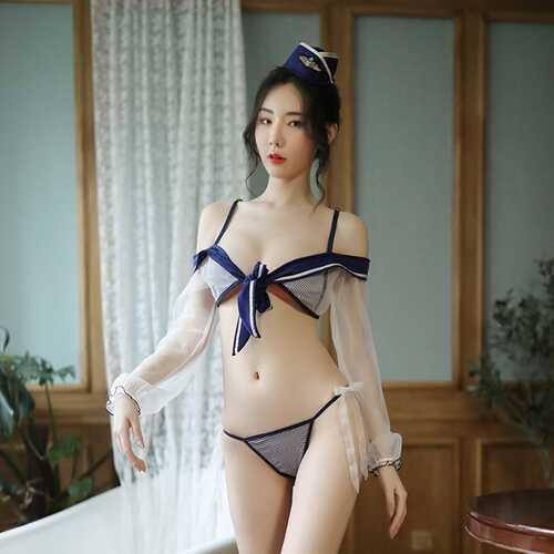 3Pcs/set Lady Sexy Sailor Student Temptation Costume Ribbon Bra+Hat+Briefs Clubwear Underwear blue_One size