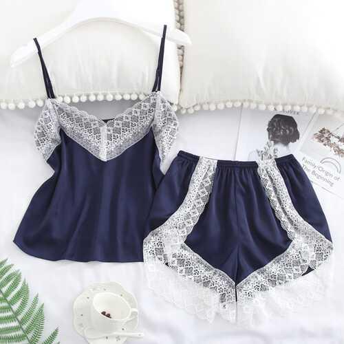 2 pcs/set Women's Sleepwear Sexy Satin Lace V-neck Pyjama Suit Sleeveless Camisole Top + Shorts Navy blue_XL