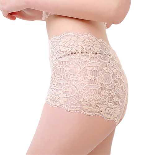 Women's Underpants Lace Sexy Lingerie See-through Large Size Boxer Briefs apricot_XL