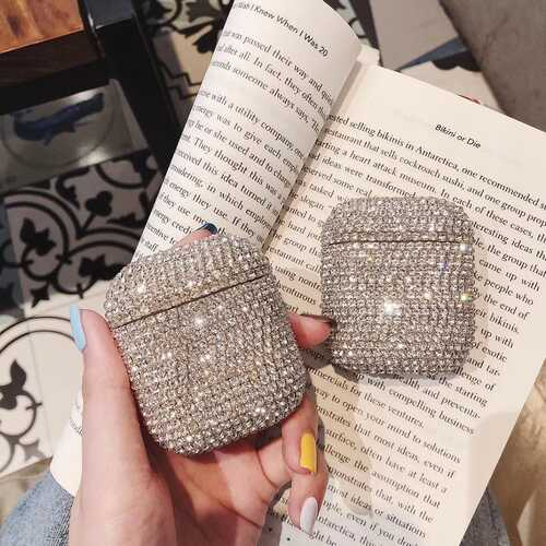 For airpods1/2 Protective Cover Fashion Rhinestone Wireless Bluetooth Headset Charging Box Protective Case Silver