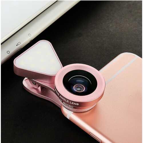 3 in 1 LED Selfie Flash Light Beauty Phone Lens Fill Light 0.4-0.6X Wide Angle 10X Macro Lens Rose gold