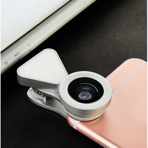 3 in 1 LED Selfie Flash Light Beauty Phone Lens Fill Light 0.4-0.6X Wide Angle 10X Macro Lens Silver