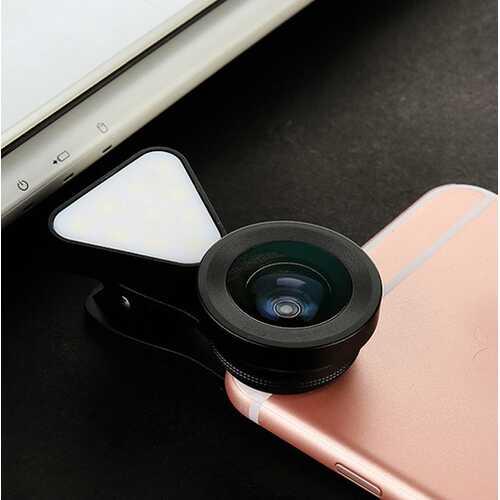 3 in 1 LED Selfie Flash Light Beauty Phone Lens Fill Light 0.4-0.6X Wide Angle 10X Macro Lens black
