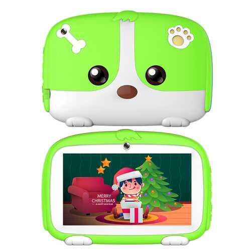 7inch Cartoon Puppy Tablet PC Android 4.4 1GB+8GB WiFi Dual Cameras LED Backlight Kid Laptop EU Plug green_1GB+8GB