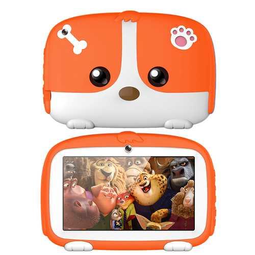 7inch Cartoon Puppy Tablet PC Android 4.4 1GB+8GB WiFi Dual Cameras LED Backlight Kid Laptop EU Plug Orange_1GB+8GB