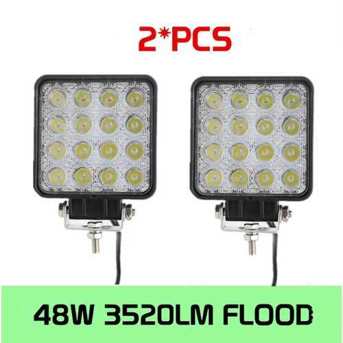 48W Flood LED Offroad Work Light Lamp 2PCS