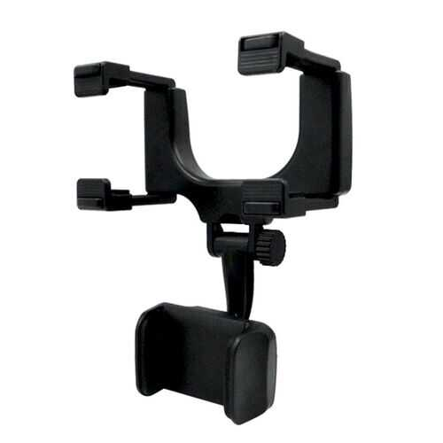 Universal Car Rearview Mirror Mount Stand Holder Cradle for Cell Phone GPS black