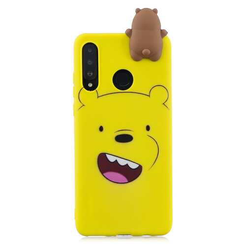 For HUAWEI P30 lite 3D Cute Coloured Painted Animal TPU Anti-scratch Non-slip Protective Cover Back Case yellow