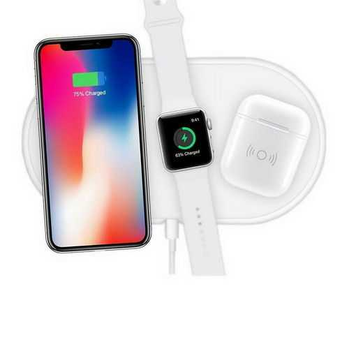3 in1 Qi Wireless Charger Pad Fast Charging for Apple Watch iWatch iPhone XS X white