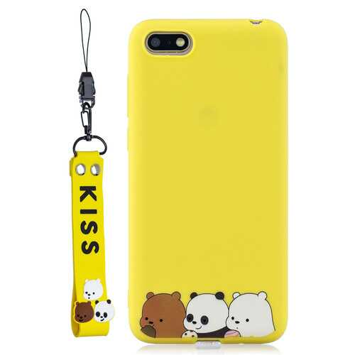 For HUAWEI Y5 2018 Cute Coloured Painted TPU Anti-scratch Non-slip Protective Cover Back Case with Lanyard yellow