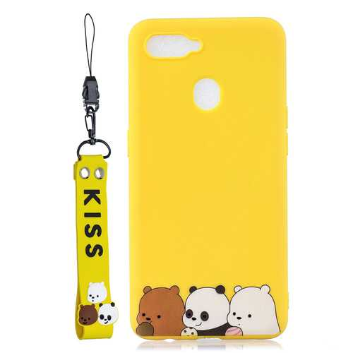 For OPPO A7 Cartoon Lovely Coloured Painted Soft TPU Back Cover Non-slip Shockproof Full Protective Case with Lanyard yellow