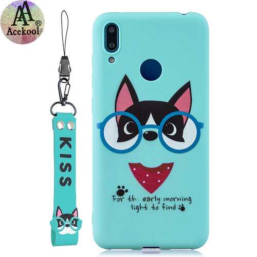 Acekool for HUAWEI Y7 2019 Cartoon Lovely Coloured Painted Soft TPU Back Cover Non-slip Shockproof Full Protective Case with Lanyard Light blue