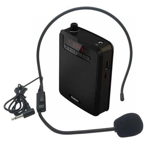 Rolton K300 Portable Voice Amplifier Waist Band Clip with FM Radio TF MP3 Player Power Bank for Tour Guides Teaching Microphone black