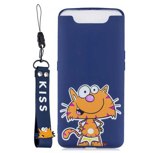 Acekool for Samsung A80-A90 Cartoon Lovely Coloured Painted Soft TPU Back Cover Non-slip Shockproof Full Protective Case with Lanyard sapphire