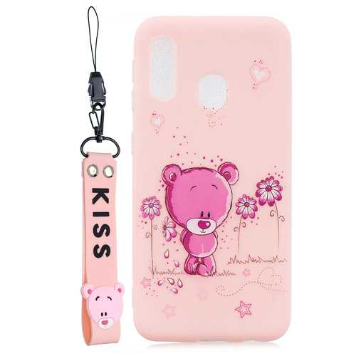Acekool for Samsung A20E Cartoon Lovely Coloured Painted Soft TPU Back Cover Non-slip Shockproof Full Protective Case with Lanyard Light pink