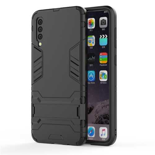 Anti-proof Phone Case TPU+PC Phone Shell with Hidden Bracket for Samsung A50 A30 pure black_Samsung A50/A50S/A30S (Universal)