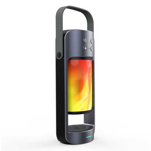 Flame Lights TF Card Deep Bass Bluetooth Loudspeaker U Disk HIFI 3D Stereo Multifunction Aux Support Night Lamp Wireless Charger Bluetooth Speaker  As shown