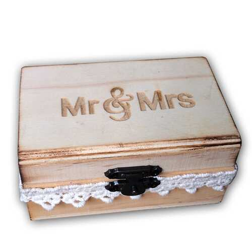 Mr & Mrs Rustic Wooden Wedding Ring Bearer Vintage Lace Decorated Lockable Ring Holder Box 10 * 6 * 5cm