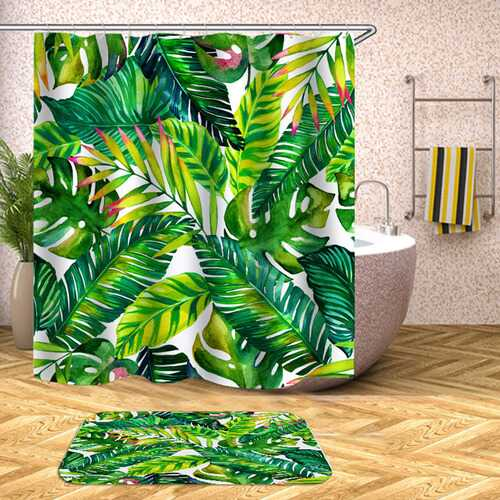 Digital Printing Leaf Pattern Shower Curtains Washable Colorful Curtains for Bathroom Shower Yl0481_180X180