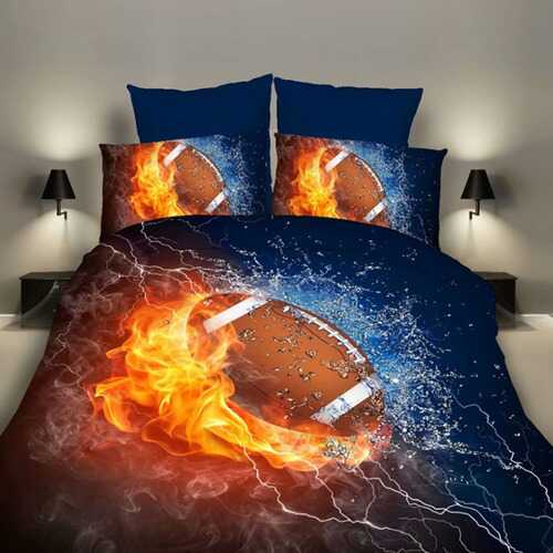3pcs/set 3D Sports Theme Bed Set Quilt Cover Pillowcases Housewarming Gift Decoration  Rugby_200X200CM