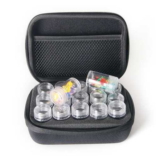 Slots Diamond Embroidery Zipper Storage Box with Transparent Beads Display Bottles black_15 grid