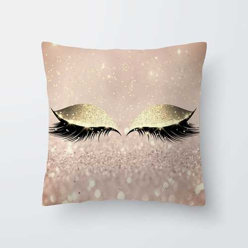 Eyelash Pattern Throw Pillow Cover for Living Room Sofa Sleeping Waist Support 17#_45*45cm