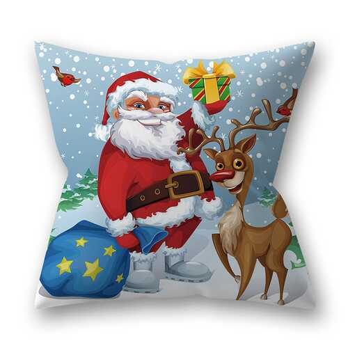 Decorative Polyester Peach Skin Christmas Series Printing Throw Pillow Cover 6#_45*45cm