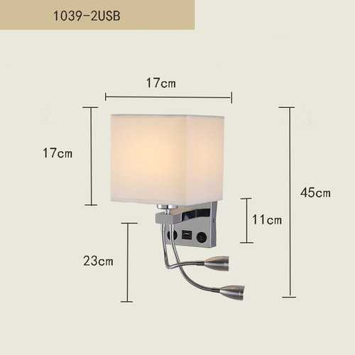 Modern Indoor LED Bedside Bedroom Wall Light with 2Heads Reading Lights Without Light Source 1039-2 with USB