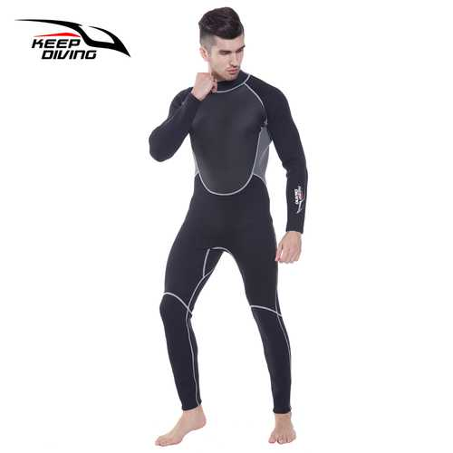 3mm Neoprene Wetsuit One-Piece Close Body Diving Suit for Men Scuba Dive Surfing Snorkeling Spearfishing Plus Size black_XXL