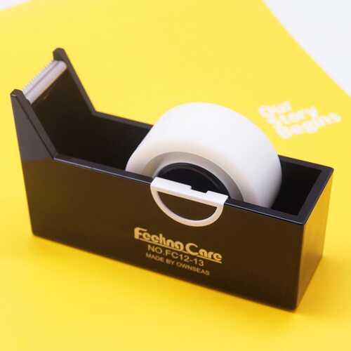 Rectangle Tape Dispenser Transparent Adhesive Roll Tape Holder Organizer School Office Supplies black