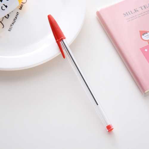50pcs 1.0mm Medium Ballpoint Pens Ball Point Biros Red / Blue / Black red_1.0MM