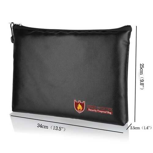 Fireproof Liquid Silicone Documents Bag with Zipper for Files Storage Large size 34*25*3.5CM