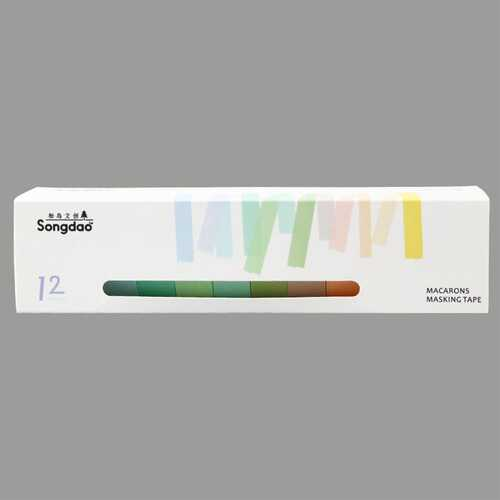 12 Pcs/set Simple Candy Color Washi Tape DIY Decoration Scrapbooking Planner Masking Tape Label Sticker Stationery Large A004-2