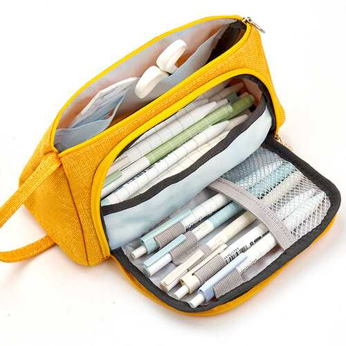 Big Capacity Canvas Storage Pouch Pen Pencil Case Stationery Bag Holder for School Office  yellow cotton linen