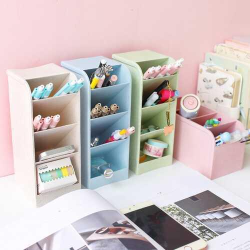 Diagonal Matte Pen Holder Desk Desktop Storage Box Stationery Rack blue