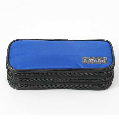 3-Layer Pencil Case Big Capacity Waterproof Zipper Pen Bag Pouch School Stationery Supply Dark blue