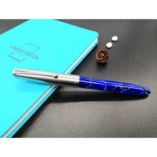 Acrylic Pen Classic Translucent Business Signature Student Pen for School Office Dark blue acrylic_Bright tip 1.0MM-26 tip