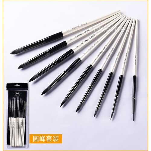 9Pcs Paint Brushes Black White Nylon Hair Mixed Head Brush Set