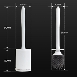 Floor-standing Wall-mounted Long Toilet Brush with Base for Cleaning gray