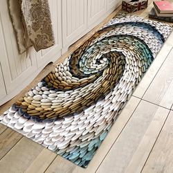 Chic 3D Rotating Pebbles Printing Carpet Hallway Doormat Anti-Slip Bathroom Absorb Water Carpet Kitchen Mat/Rug