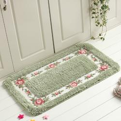 Pastoral Style Rose Pattern Non Slip Water Absorption Rectangle Carpet Floor Mat