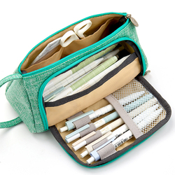 Big Capacity Canvas Storage Pouch Pen Pencil Case Stationery Bag Holder for School Office  mint green cotton linen