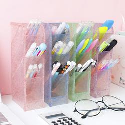 Diagonal Pen Holder Desk Desktop Storage Box Stationery Rack pink