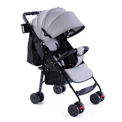 Category: Dropship Gadgets, SKU #PTO_0867JMKY, Title: Baby Folding Stroller Full Canopy Sunshade Linen Laid Down Portable Baby Umbrella Cart Linen Gray