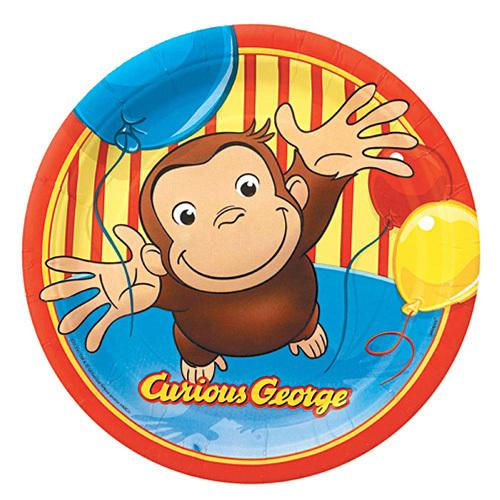 Curious George 9 Inches Plates [8 Per Pack]