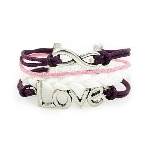 Infinity Love Bracelet [Purple Pink and White]